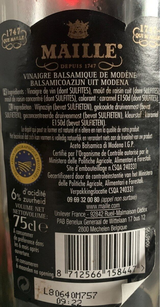 Maille Vinaigre Balsamique de Modène Offre Saisonnière 75cl - Nutrition facts - fr