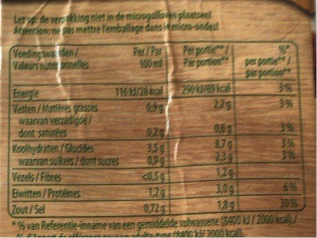 Julienne légumes avec boulettes - Voedingswaarden - nl