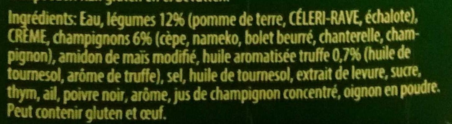 Sensations - Crème Forestière à l'huile aromatisée Truffe - Ingrédients - fr