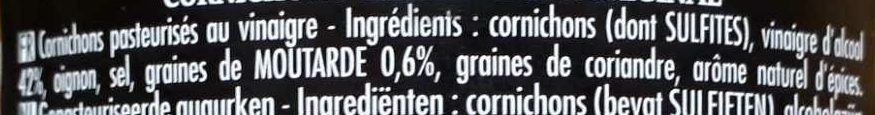 Maille Cornichons Extra-Fins L'Original Bocal - 原材料 - fr