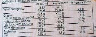 Caldo de pescado en cacitos pack 4 tarrinas 112 g - Información nutricional