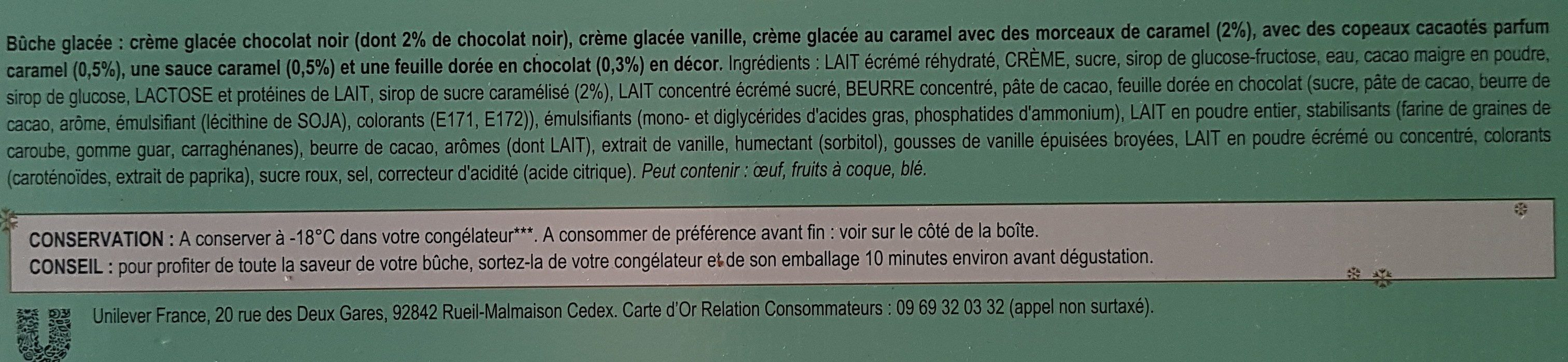 Buche chocolat Carte D'Or Vanille caramel - Ingredients