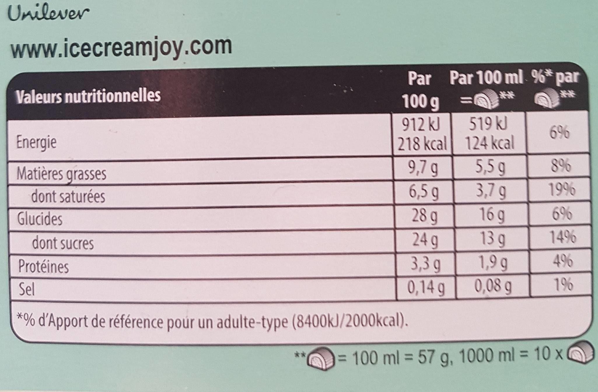 Buche chocolat Carte D'Or Vanille caramel - Nutrition facts