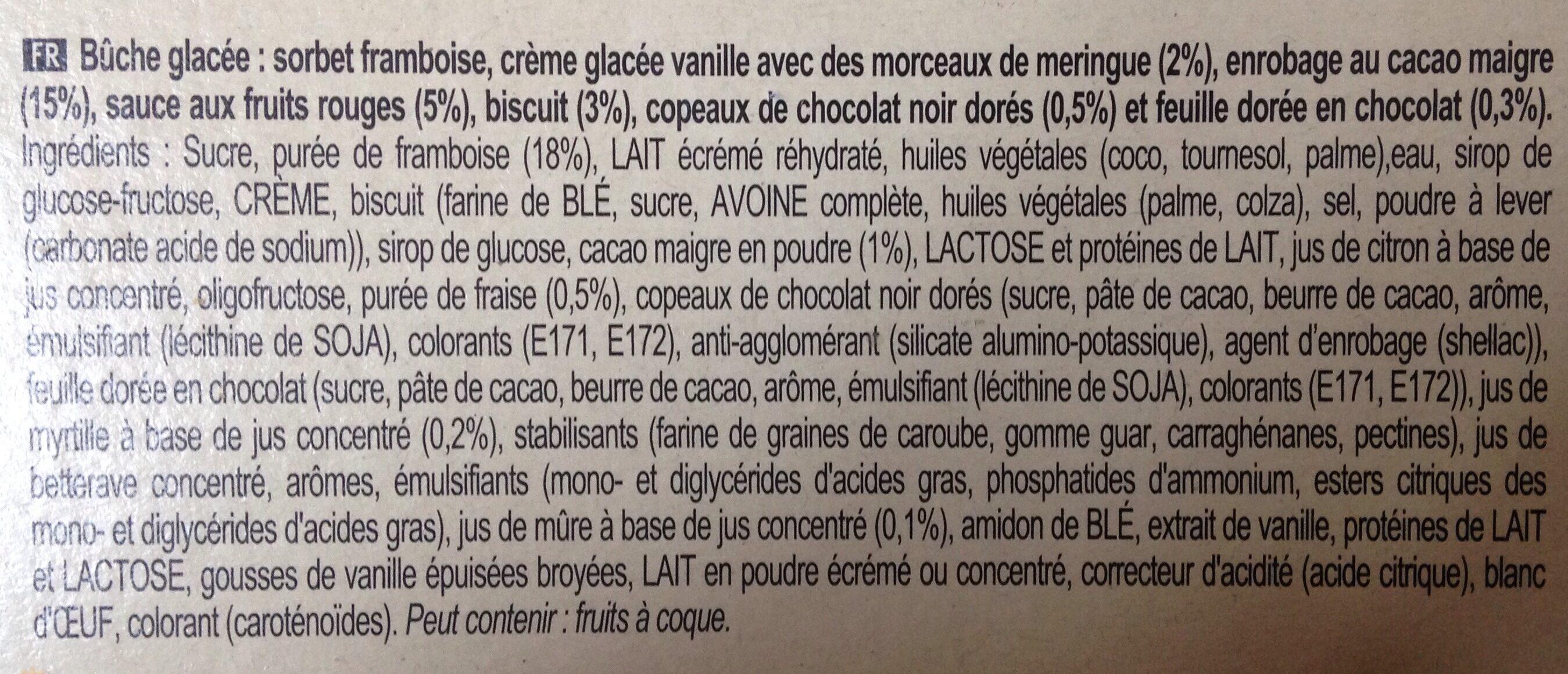 Carte D'or Façon Buche Glacée Façon Framboisier 9 parts 900ml - Ingredients