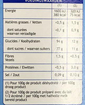 Entremets flan au café - Nutrition facts - fr