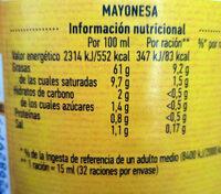 Gran mayonesa - Información nutricional - es