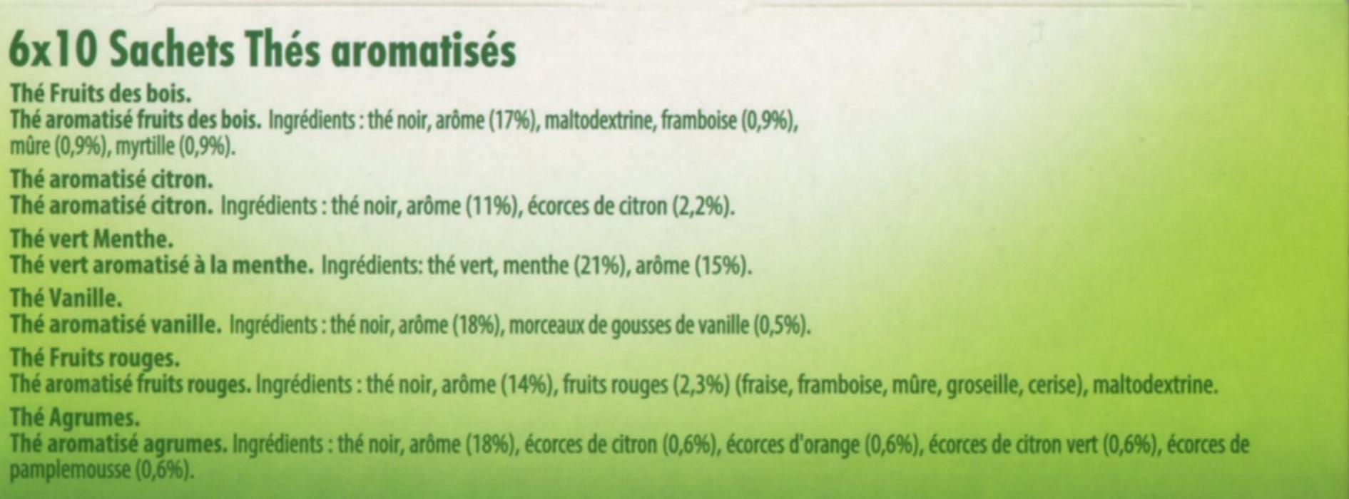 Coffret de Thés parfumés - Ingrediënten