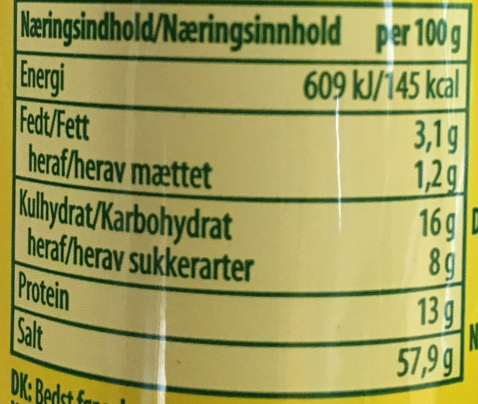 Knorr Aromat - Nutrition facts - fr