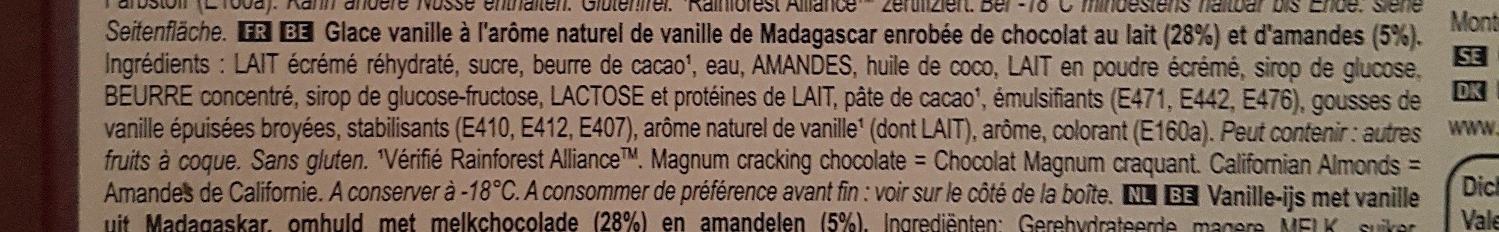 Magnum Batonnet Glace Amande x 4 440 ml - Inhaltsstoffe