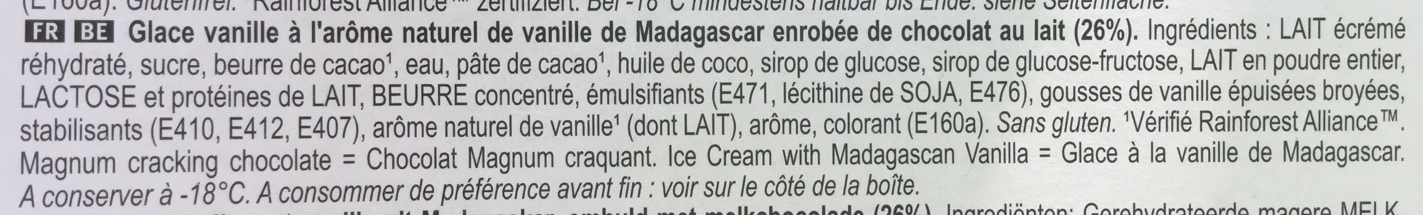 MAGNUM Glace Bâtonnet Classic 4x110ml - Ingrédients - fr
