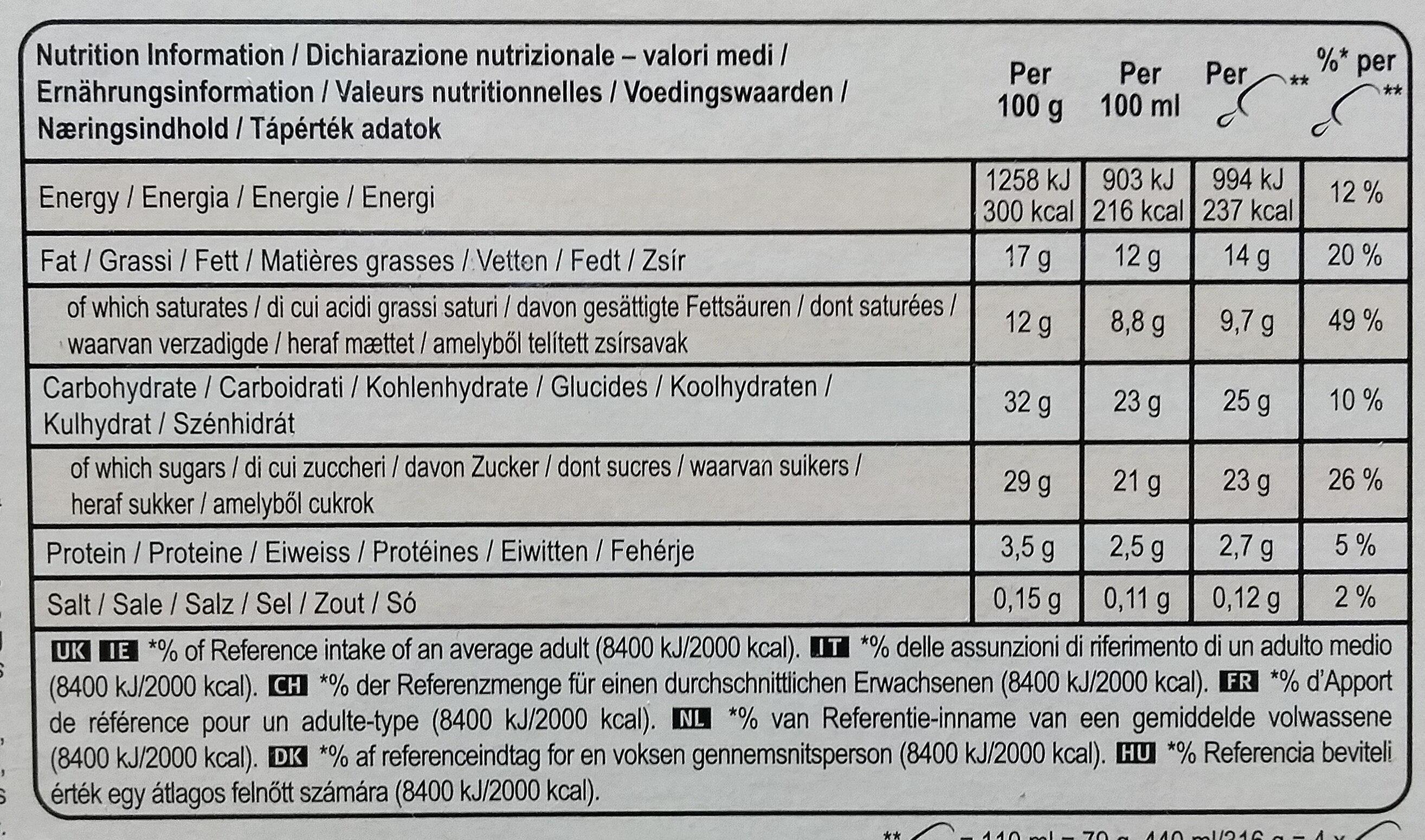 Magnum Batonnet Glace Chocolat Blanc x4 440ml - Informations nutritionnelles - fr