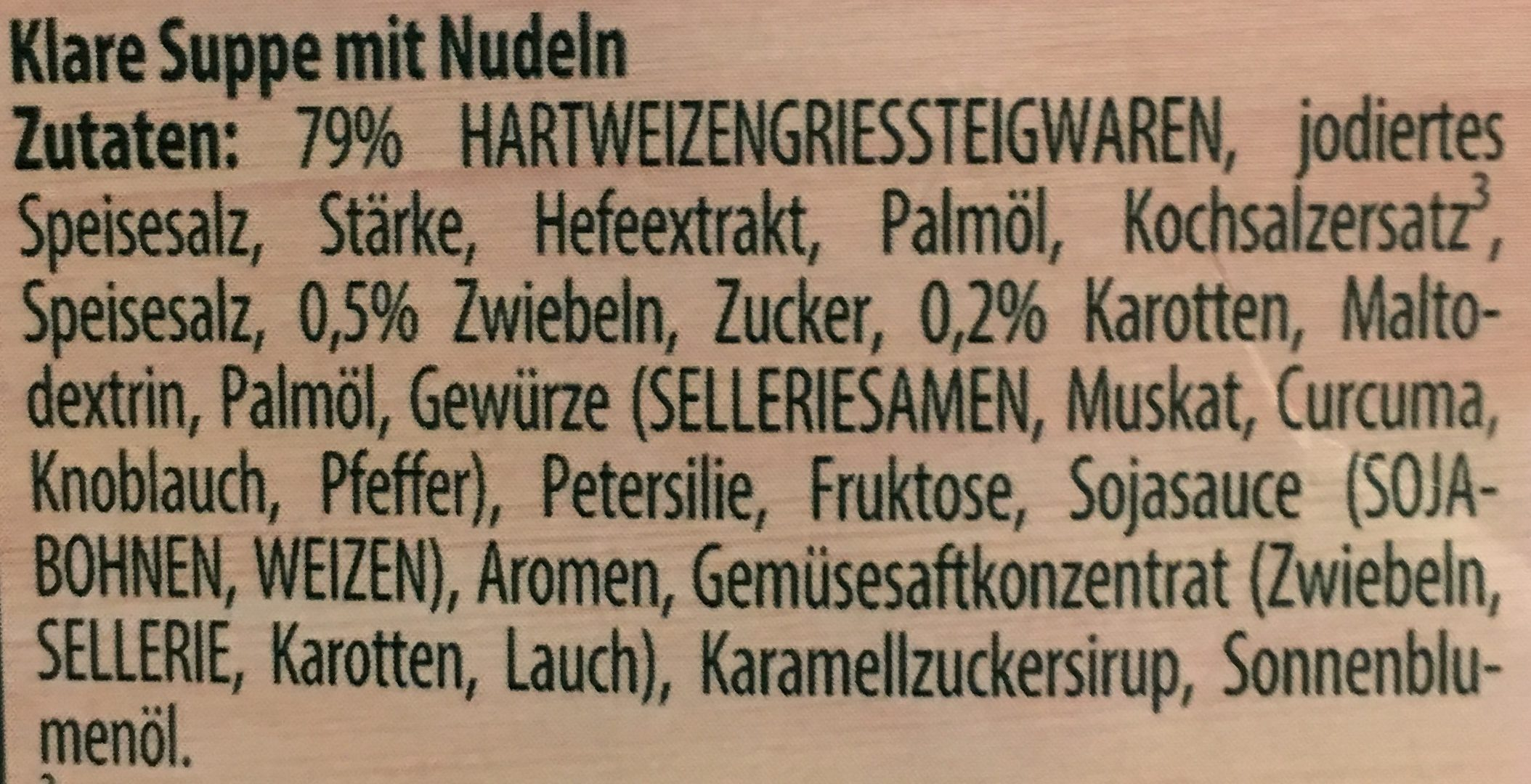 Buchstaben Suppe - Zutaten - de