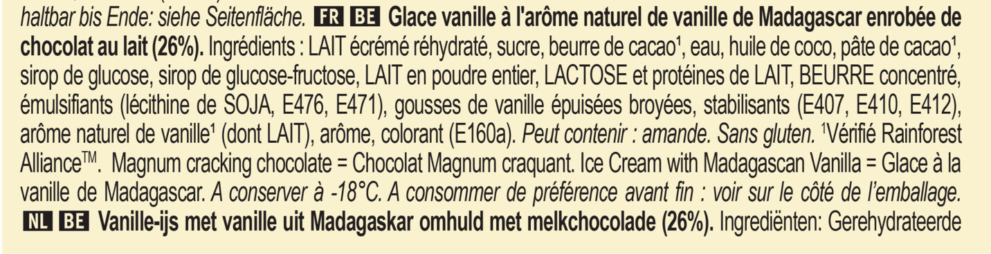 Magnum Glace Batonnet Classic 6x110ml - Ingredients - fr