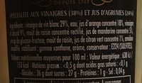 Velours de Vinaigre aux Agrumes - Ingrediënten