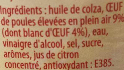 Mayonnaise fine - recette fouettée aux blancs d'oeufs - Ingrediënten