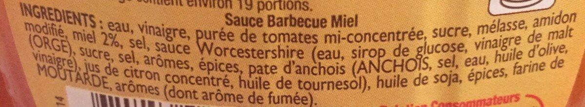Amora Sauce Barbecue Miel Flacon Souple - Ingredients - fr