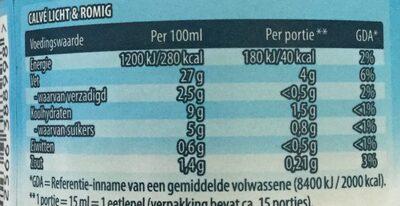 Licht & romig - Voedingswaarden - nl