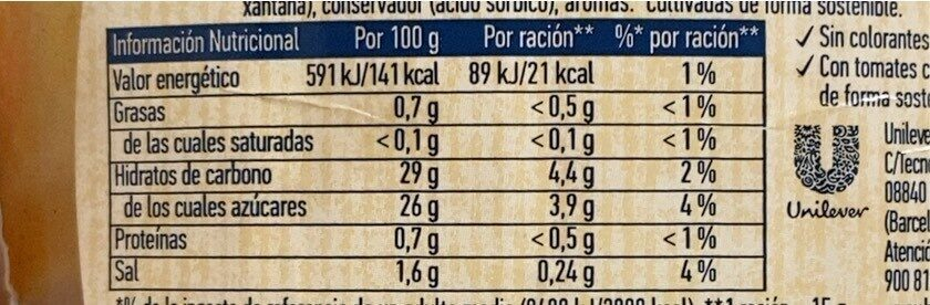 Salsa barbacoa - Informations nutritionnelles - es