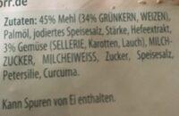 Fränkische Grünkerncreme Suppe - Ingrédients