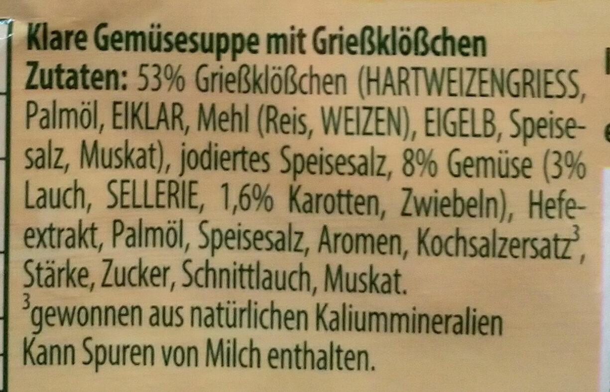Grießklößchen Suppe - Ingredients - de