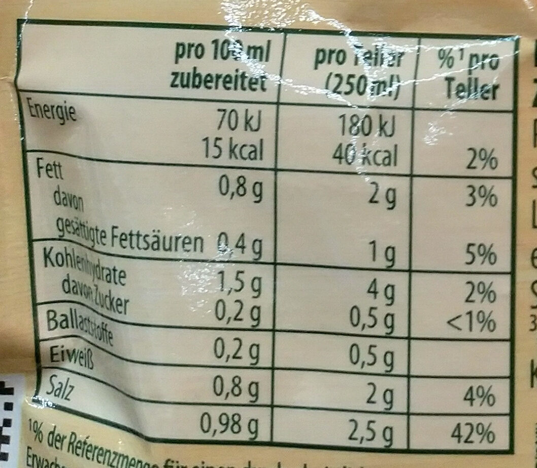Grießklößchen Suppe - Nutrition facts - de