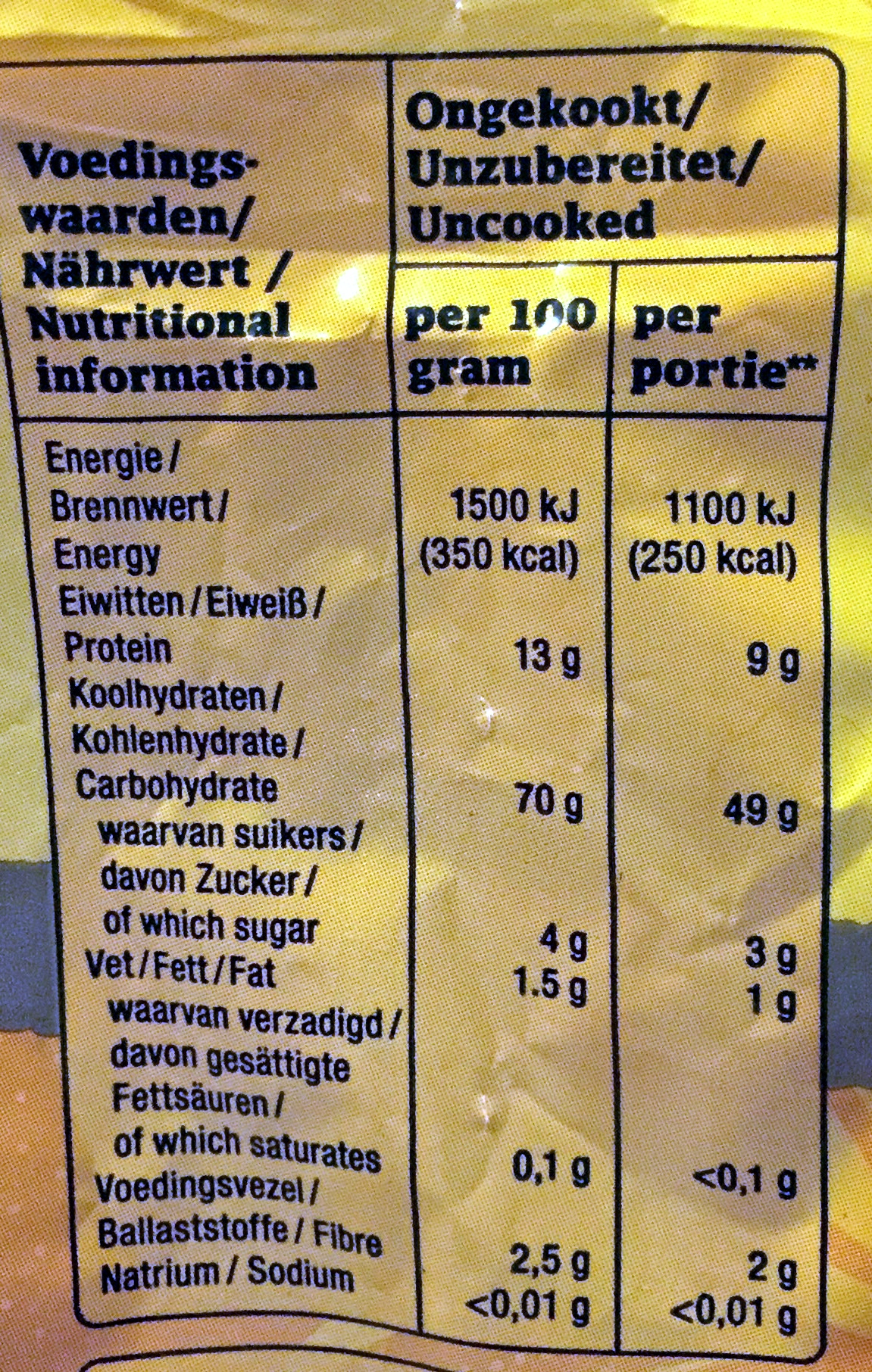 Mie - Voedingswaarden - nl