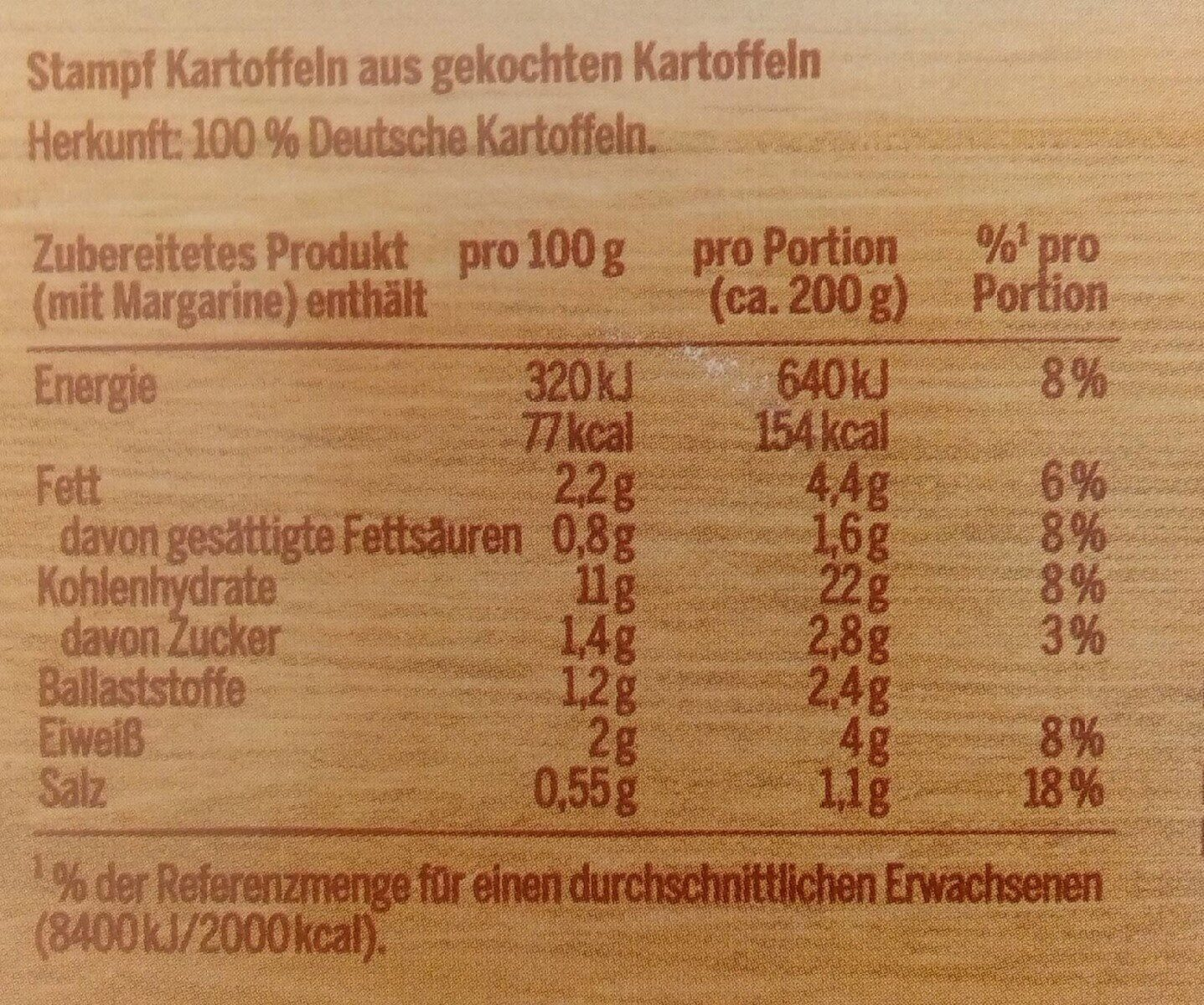 Stampf Kartoffeln - Valori nutrizionali - de