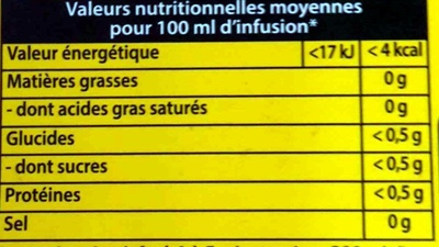 Tisane camomille - Nutrition facts - fr