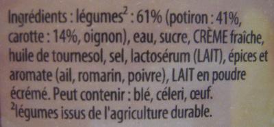 Secrets de Grand-Mère Potiron Carottes fondantes et pincée de romarin (Lot de 2) Knorr - Ingrédients
