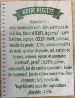 Poule Vermicelles aux petits legumes et morceau de volaille Secret de grand mère 2 x - Ingredients