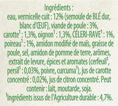 Knorr Saveurs d'Antan Soupe Poule Vermicelles 30cl - المكونات - fr