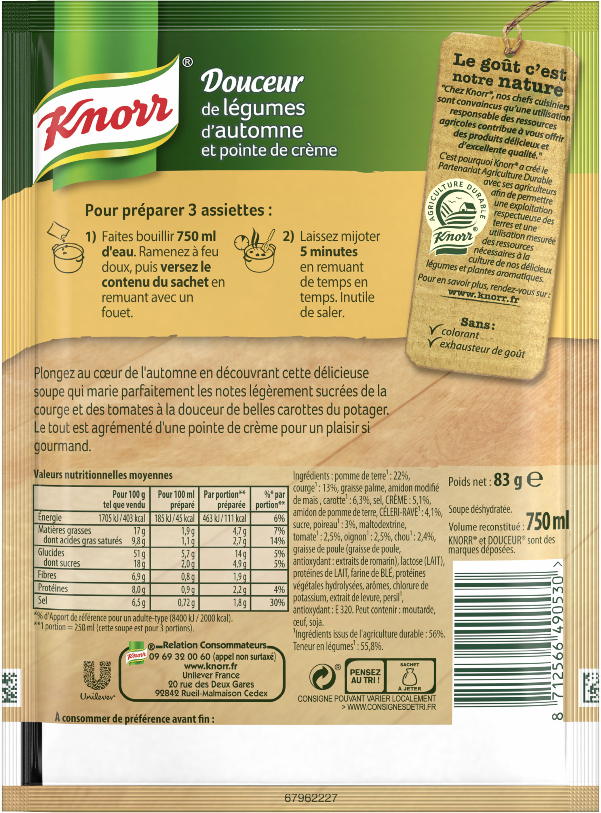 Knorr Soupe Douceur de Légumes d'Automne 83g 3 Portions - Valori nutrizionali - fr