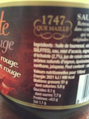 Maille Sauce Vinaigrette Echalote & Oignons Rouges 1L - Nutrition facts - fr