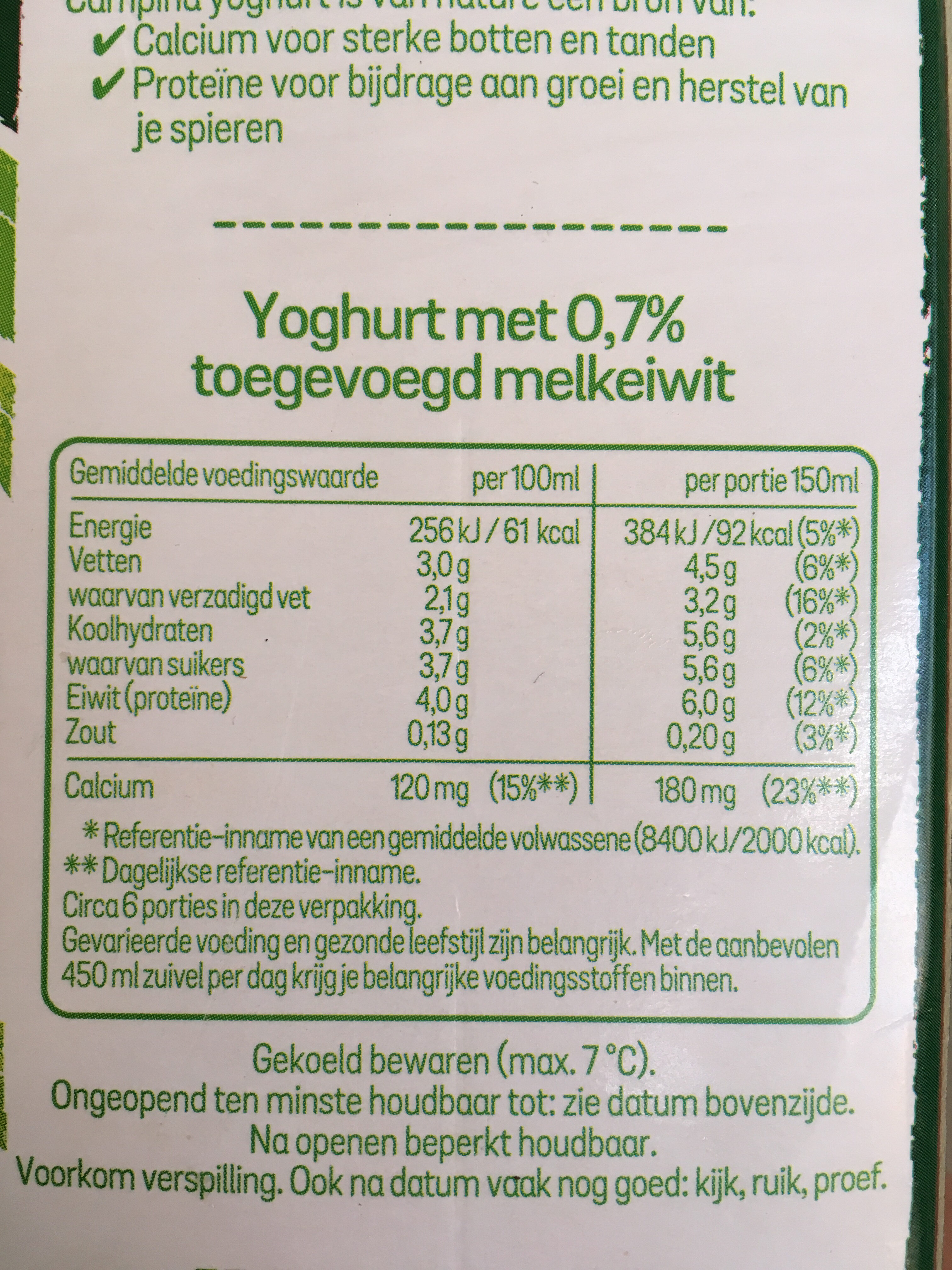 Campina Volle Yoghurt 3% Vet - Nutrition facts
