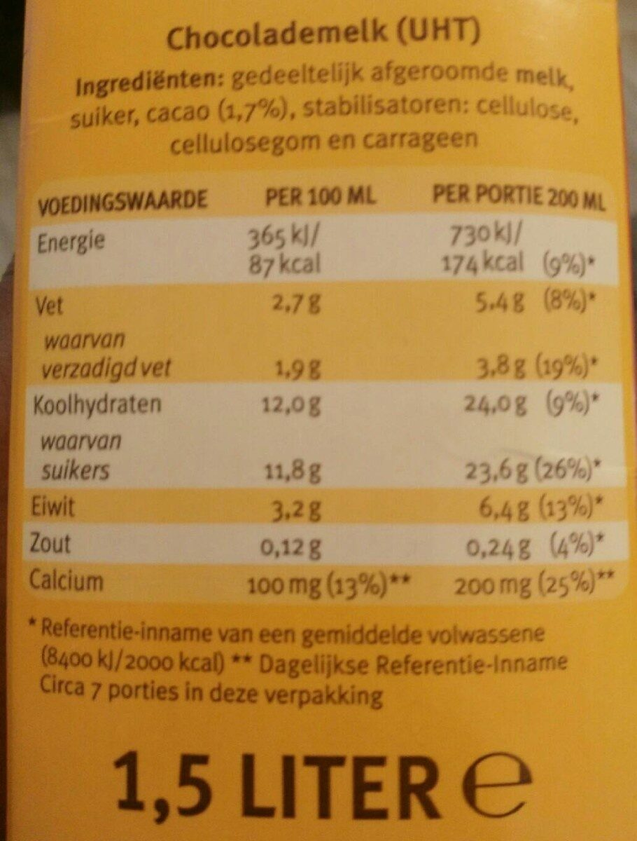 Chocomel - Nutrition facts - nl