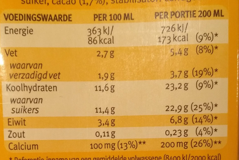 Chocomel - Voedingswaarden - nl