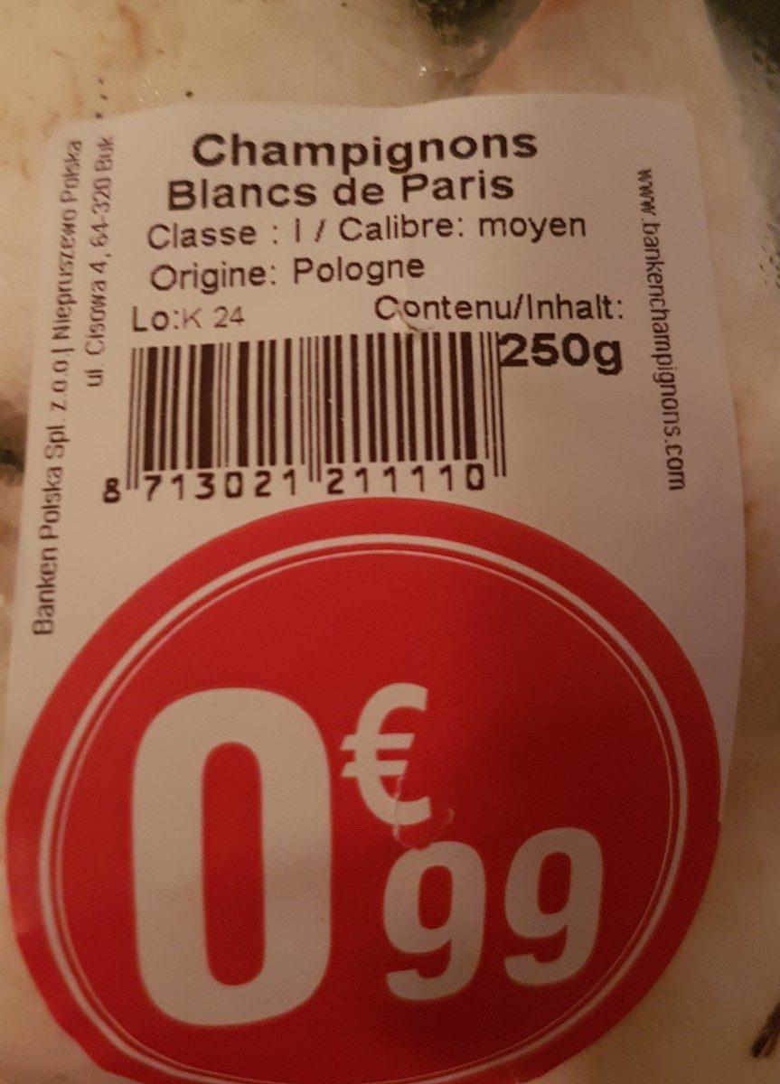 Champignons Blancs de Paris - Ingrédients