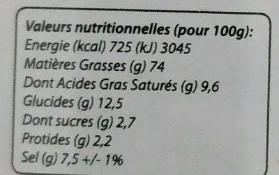 Marinade express thaï - Nutrition facts