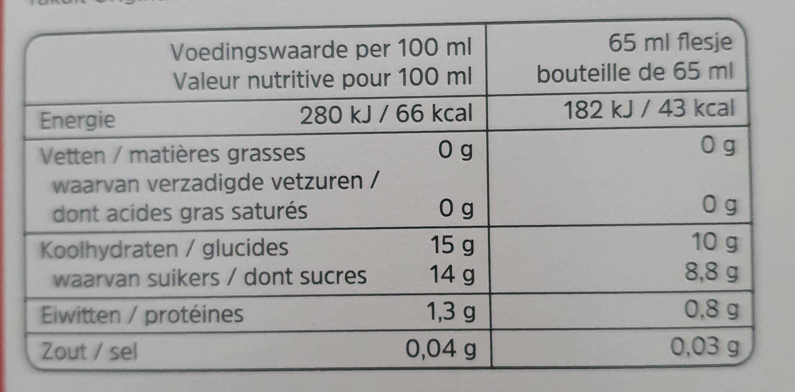 Yakult Original 0% vet - Nutrition facts - nl