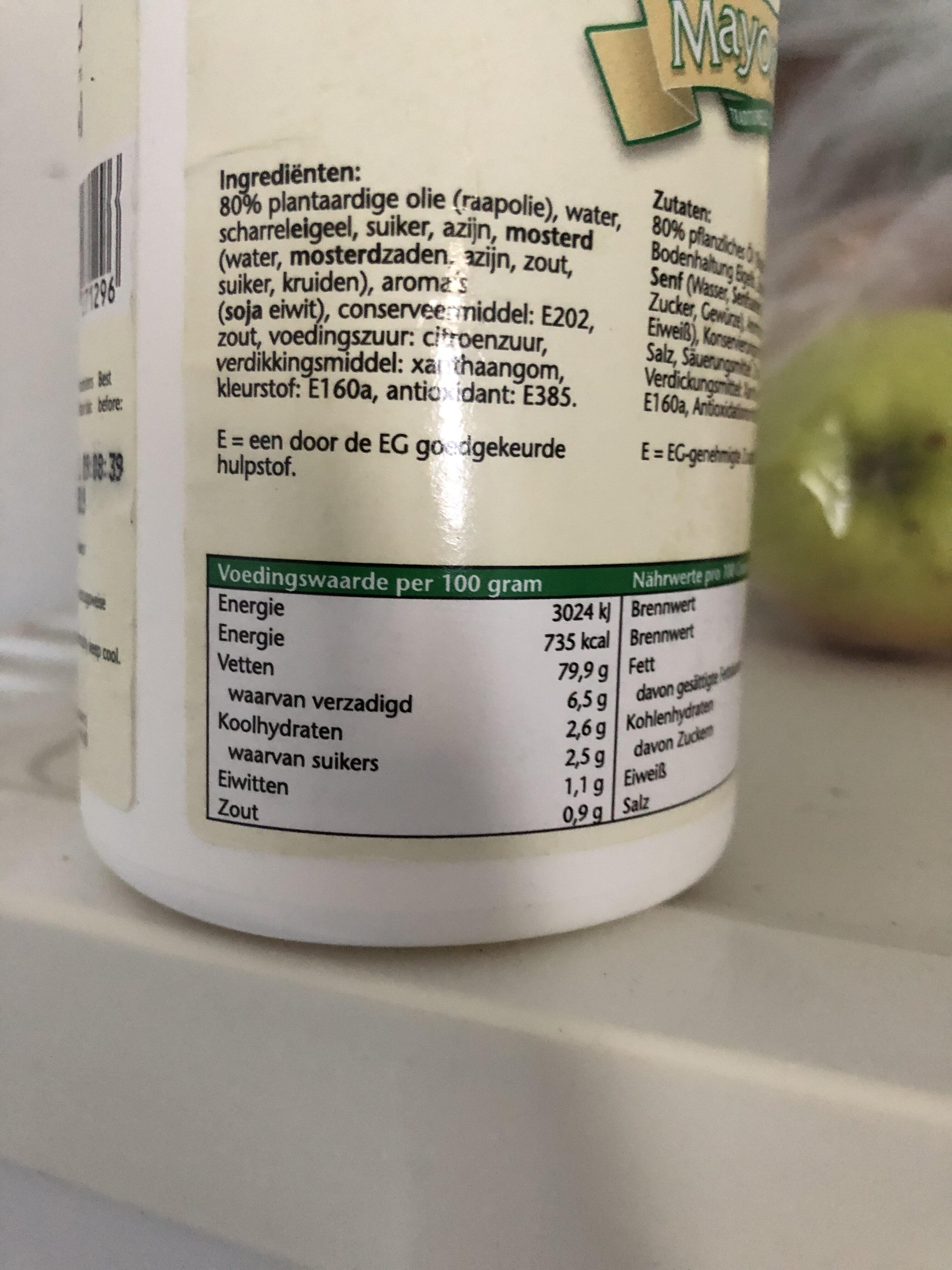 Mayonaise - Voedigswaarden