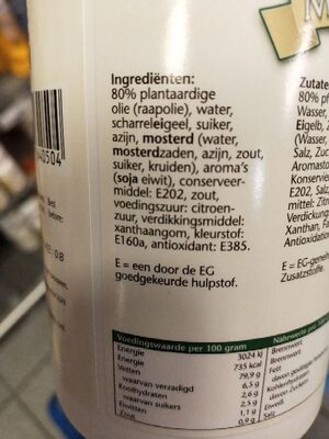 Oliehoorn Mayonaise - Ingredients - nl