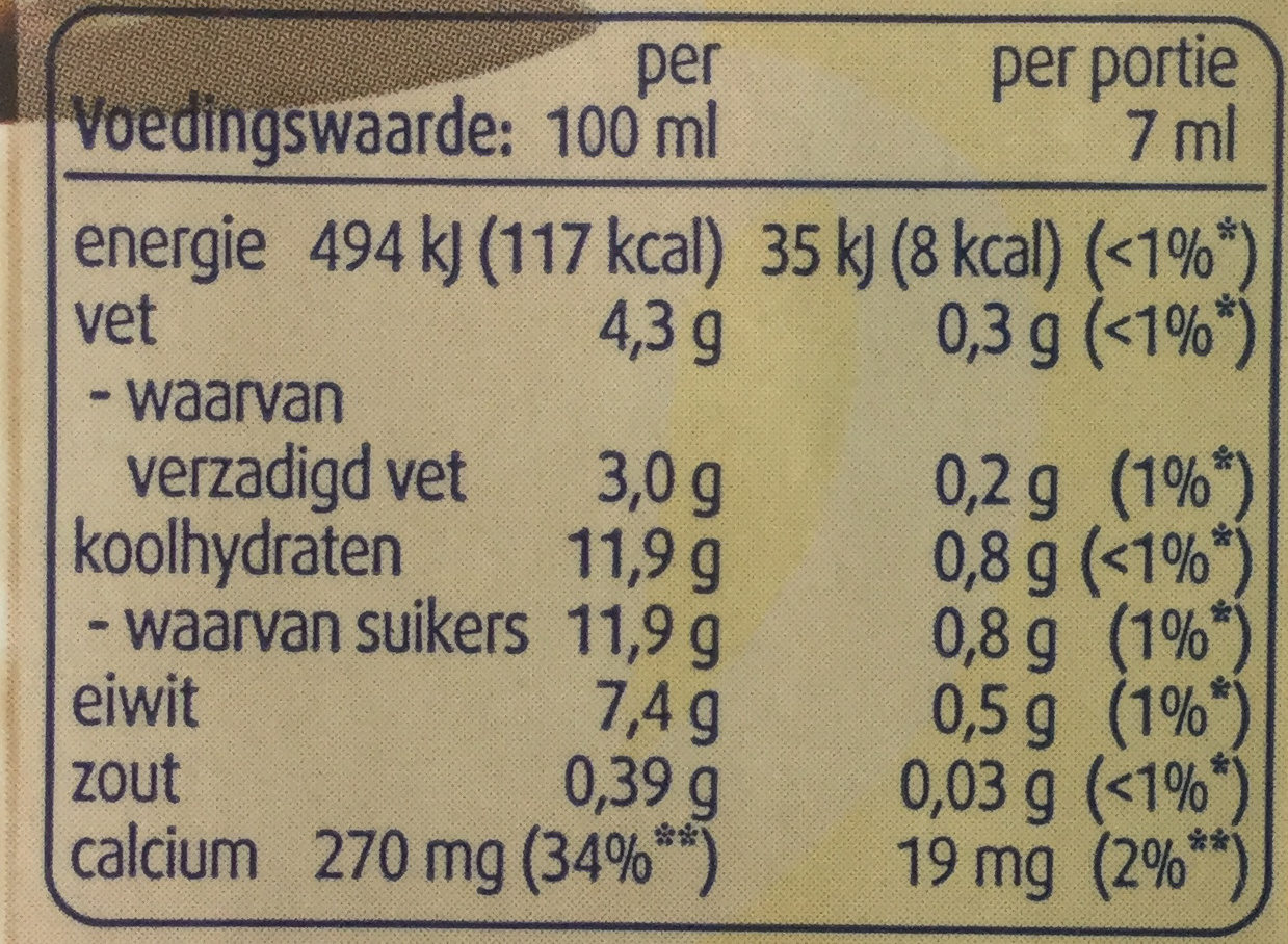 Halvamel - Nutrition facts