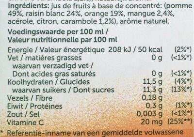 Jus mango et carambole - Nutrition facts - fr