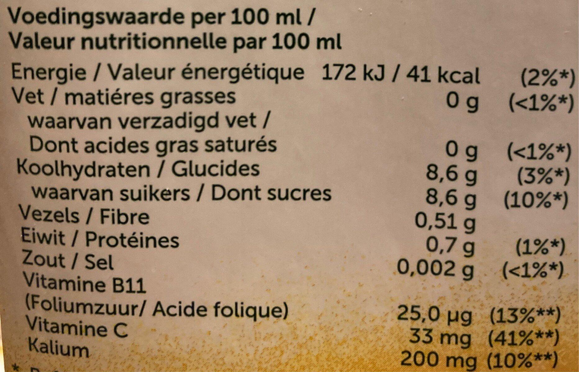 Jus d'orange  extra pulpe - Informations nutritionnelles