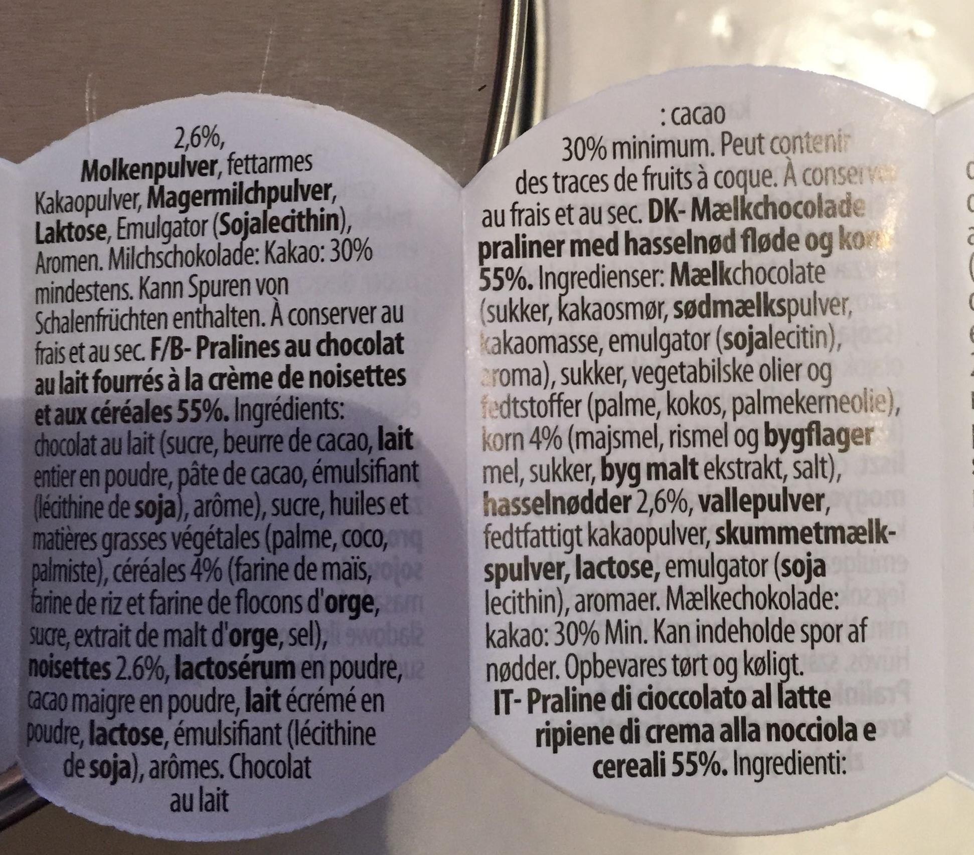 Pralinés au chocolat au lait fourrés à la crème de noisettes et aux céréales 55% - Ingredients