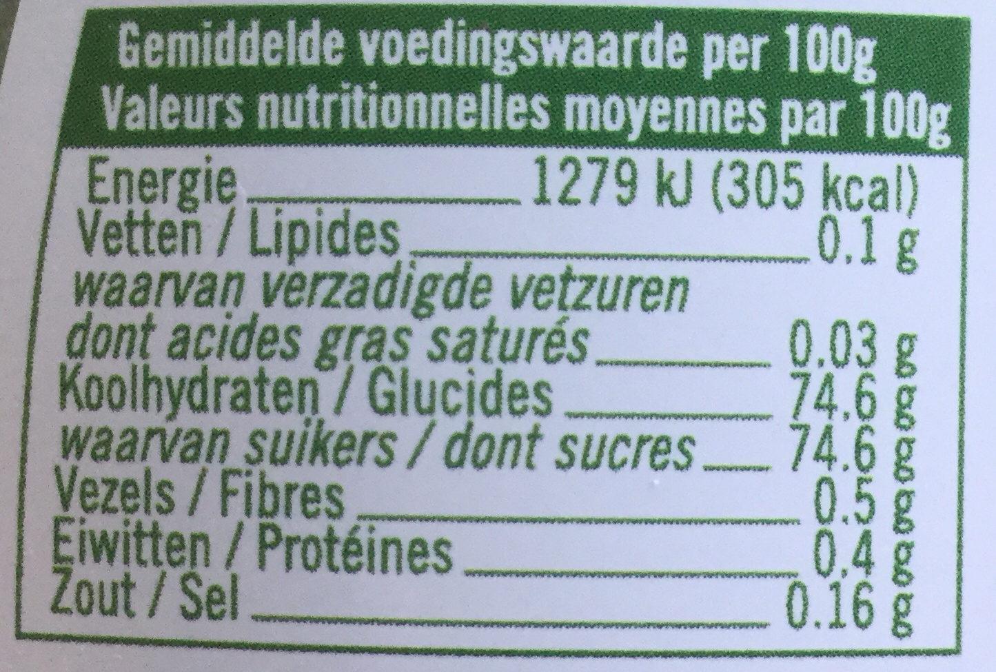 Biologische schenkstroop - Nutrition facts