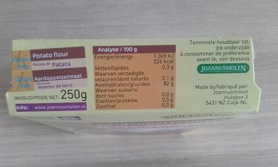 Fécule de Pomme de terre - Informations nutritionnelles - fr