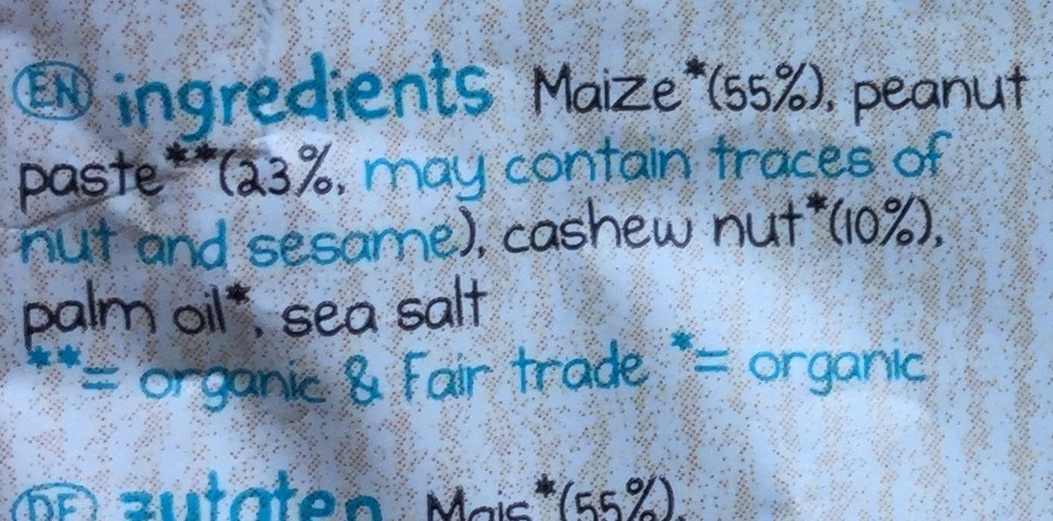 Mais flips - peanut & roasted cashew - Ingredients