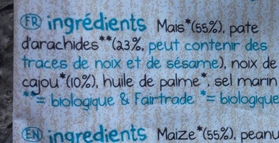 Mais flips - peanut & roasted cashew - Ingrédients