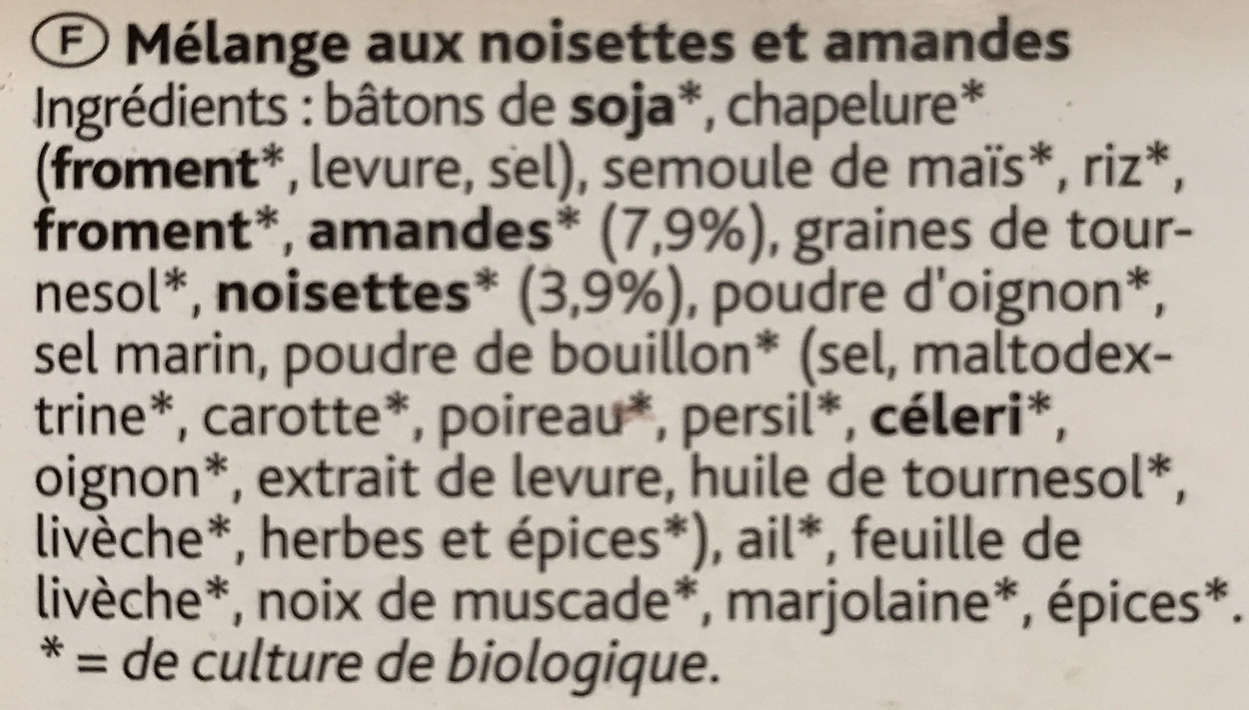 Bioburger Noisettes Amandes - Ingrediënten